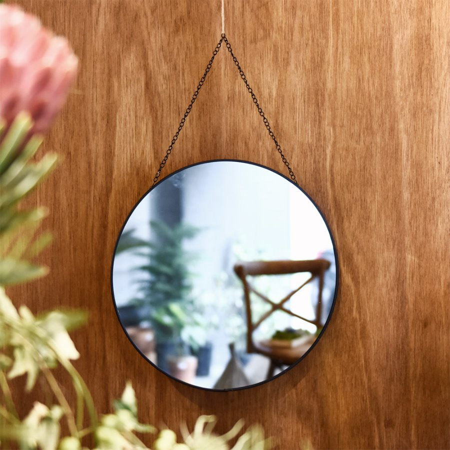 Black Metal Round Strap Mirror