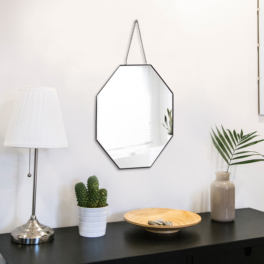 Black Metal Octagon Strap Mirror