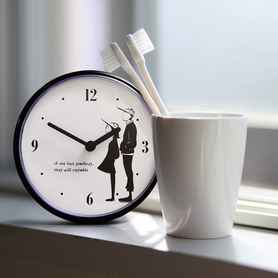 Black Couple Bathroom Clock 12cm